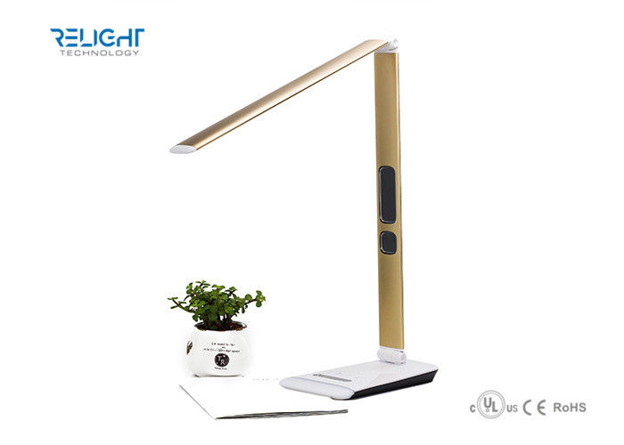 Home Decorative Gold Led Table Lamp With Wireless Charging , Ultra ...