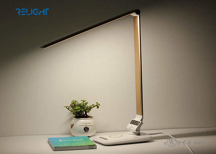 Foldable LED Desk Lamp with Wireless Charging  Ambient Light and Dimmable Brightness
