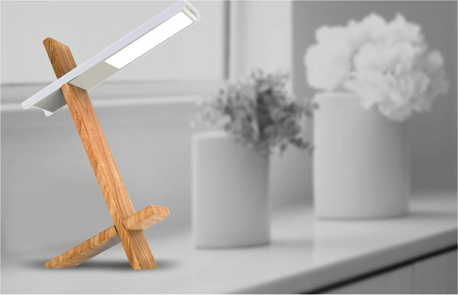 Fashion Purple Gold Silver Portable Usb Led Desk Lamps With Wood Base